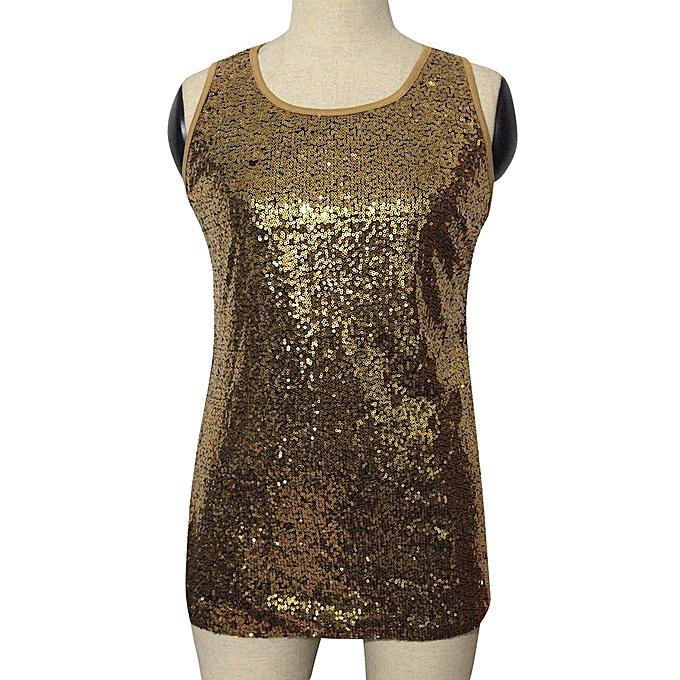 b44f835f63962 ... Women s Sleeveless Sparkle Shimmer Camisole Vest Sequin Tank Tops - Yellow ...