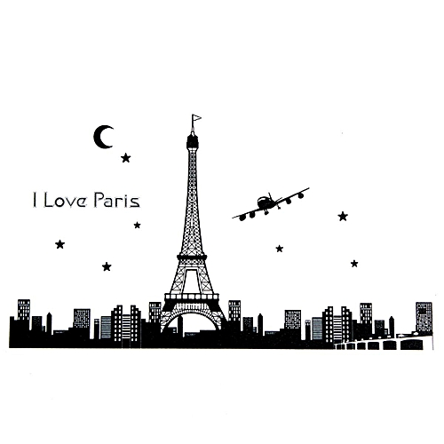Removable Paris Eiffel Tower Glow In The Dark Art Wall Stickers Room Decor Decal
