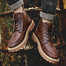 Men Genuine Leather High-top Martin Boots Waterproof Ankle Boots-Brown