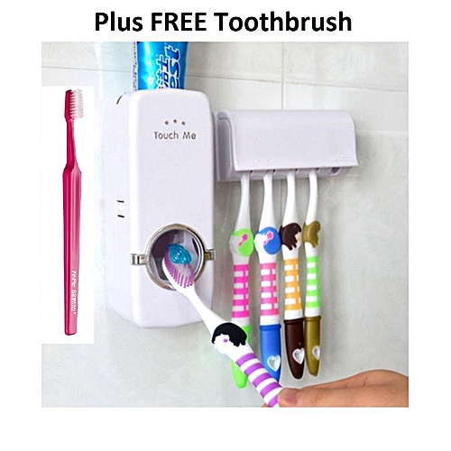 Automatic Toothpaste Dispenser + Toothbrush Holder + FREE Toothbrush