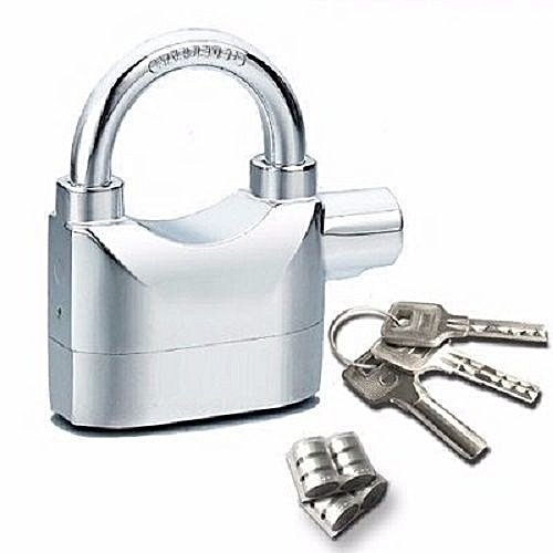 Alarm Padlock For Door/Motor/Bike/Car 110db Anti-Theft Security Lock Set With Batteries Silver