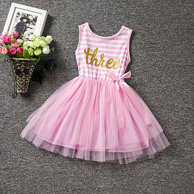 60726c856 2019 Kids Baby Girl Kids Birthday Party Stripe Outfits Clothes Tutu  Princess Bow Dress Musiccool