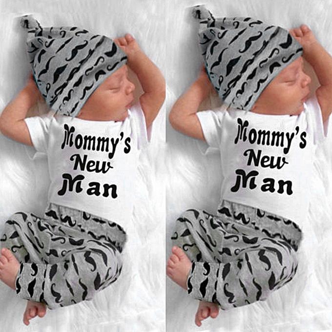 5390fc92b3f 3Pcs Newborn Baby Boy Romper Letter Tops + Beard Long Pants Hat Outfits  Clothes