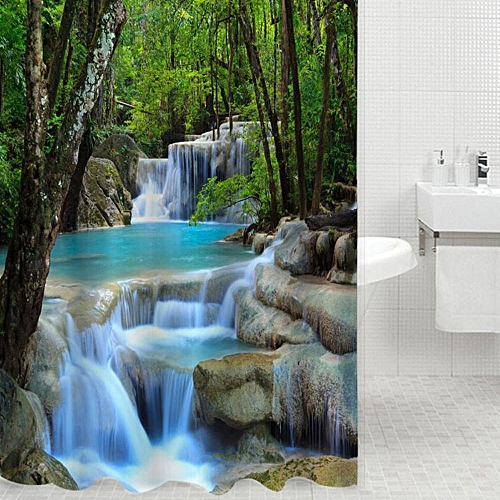 3D Waterfalls Nature Scenery Shower Curtain Water Resistant Polyester Bathroom Gadget