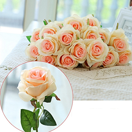 10 Branch Silk Champagne Roses Wedding Party Decoration Home Decoration Artificial Flowers