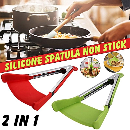 2 In 1 Non-stick Clever Tongs Heat Resistant Silicone Spatula Cooking Food Clip For Kitchen Food