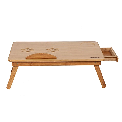 Portable Folding Bamboo Bed Laptop Desk Adjustable Lap Notebook Table Stand Tray With Drawer