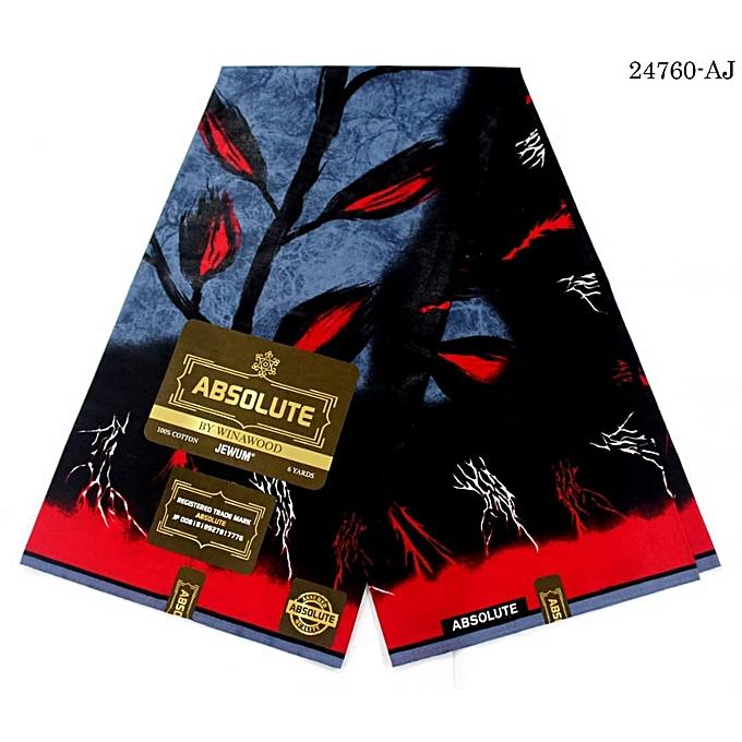 Fashion High Quality 6 Yards Ankara Fabric 100 Cotton -Red.