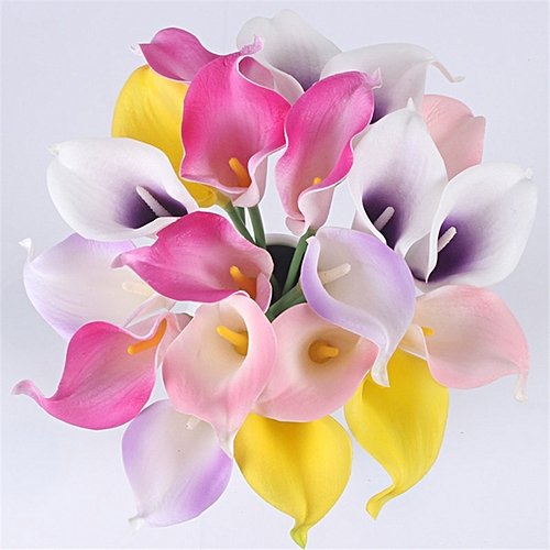 Natural Real Touch Flower Bouquet Calla Lily Wedding Home Fake Flower For Home Party Decorations