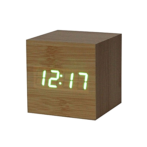 Digital LED Bamboo Wooden Wood Desk Alarm Brown Clock Voice Control GN