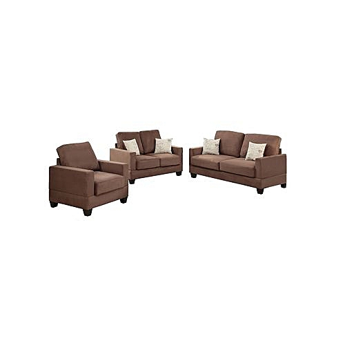 Kona 6 Seater Fabric Sofa Set With FREE Throws - Brown (Lagos Only)