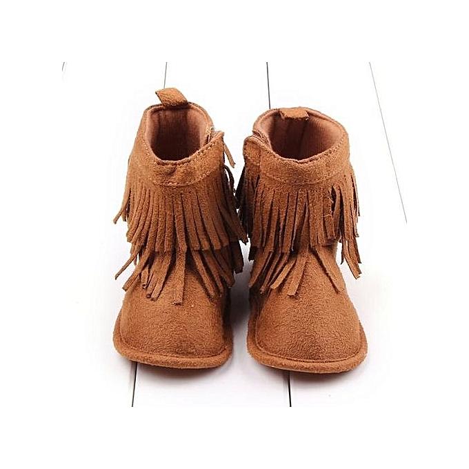 Toddler Infant Newborn Baby Girl Shoes Soft Sole Boots Prewalker Tassel  BW 12-Brown c83060ba8
