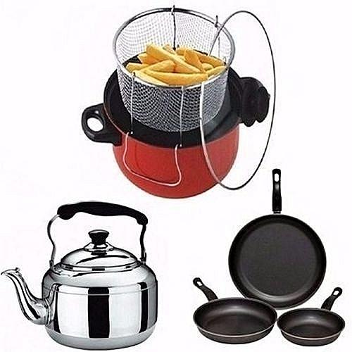 Deep Fryer, Whistling Kettle - 3L & Non-Stick Frying Pan Bundle