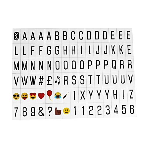 DIY Letters Emoj Numbers Cards Combination For A4 Size Light Box Home Decor Black