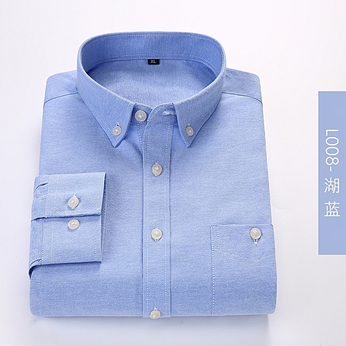 7ea2b572337 Men s Business Linen Shirts Comfort Solid Plaid Short Sleeve Shirt Men  Casual Brand Clothing-blue