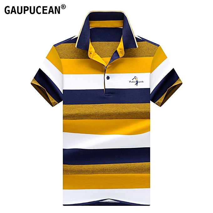 036408a0b13a Man Short Sleeve Polo Shirt 95% Cotton 5% Spandex Soft Summer Male Striped  Embroidery
