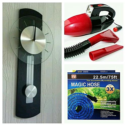Pendulum Wall Clock+car Vaccum Cleaner+magic Hose (3in1)