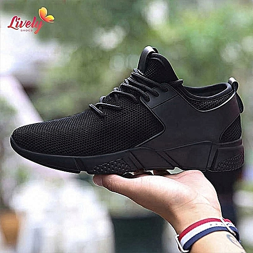 Men's Fashion Sports Sneakers /Flexible Athletic Casual Shoes-Black