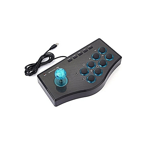 3 In 1 USB Wired Game Controller Arcade Fighting Joystick Stick Gaming Console -Black