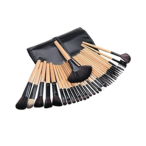 24 Pcs Professional Bamboo Makeup Brush Set + Black PU Leather Pouch - Brown