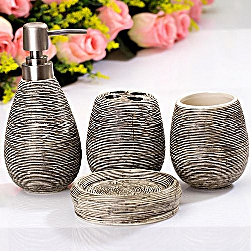 Set Of 4 Textural Bathroom Accessory Dispenser Toothbrush Holder Cup Soap Dish