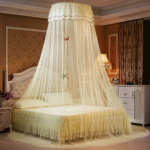 Mosquito Net Bed Canopy Netting Fly Insect Protection Bed Outdoor Curtain Dome - Yellow