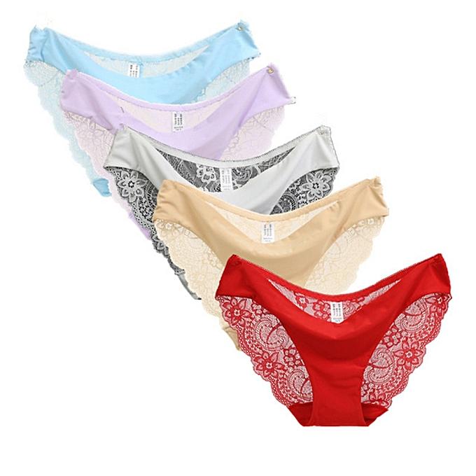 e2bb7d9083c01 5pcs lot S-XXL Plus Size Women Briefs Transparent Low Waist Comfortable Underwear  Ladies