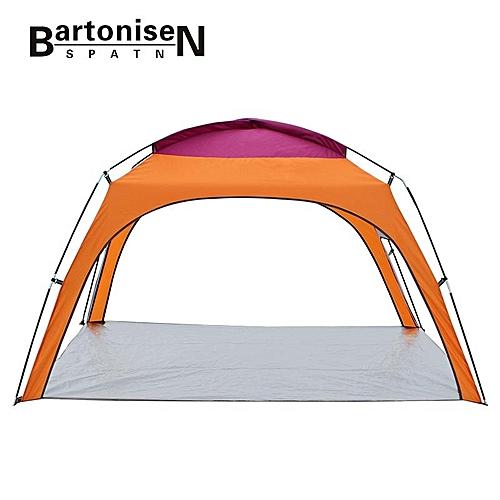 BartoniseN Outdoor 3-4 People Beach Sunshade Tent Summer Camp Anti-UV Rainproof Canopy With Bottom Mat Orange