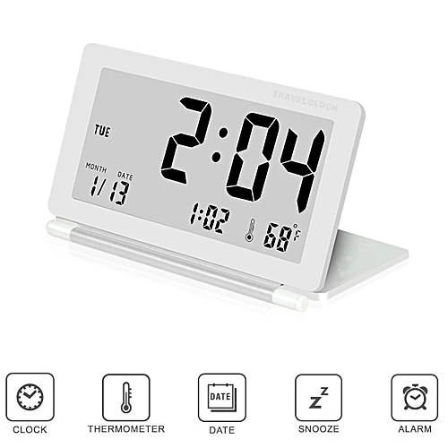 Travel Alarm Clock, Ultra-thin Clamshell 12/24 Hour LCD Digital Screen Alarm Clock With Temperature Date Week Repeating Snooze Leather Cover,White