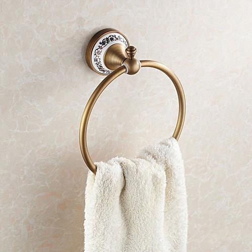 WANFAN HJ-1808 Home Bathroom Decorative Antique Ceramic Wall Mounted Robe Towel Holder Towel Ring