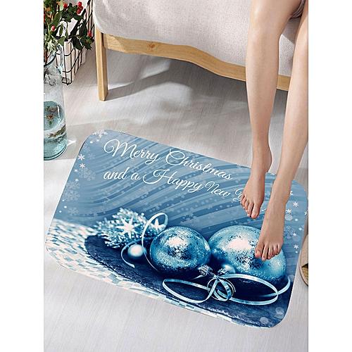 Merry Christmas Balls Print Flannel Skidproof Bath Rug - Blue