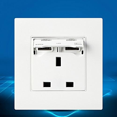 Excellway® KI01 250V 13A UK Plug Dual USB Port Wall Charger Adapter Socket