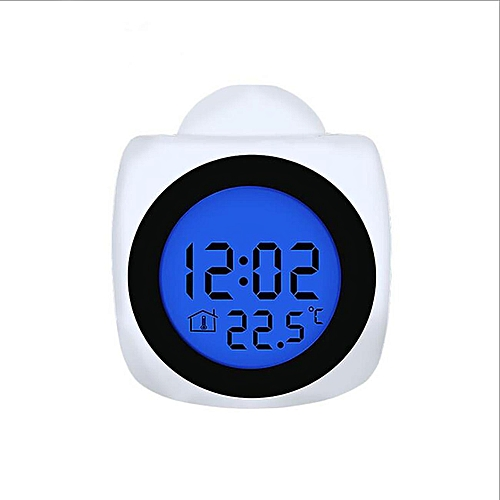 White Digital Alarm Clock Multifunction With Voice Talking LED Display Projection Temperature Home Decor Gift