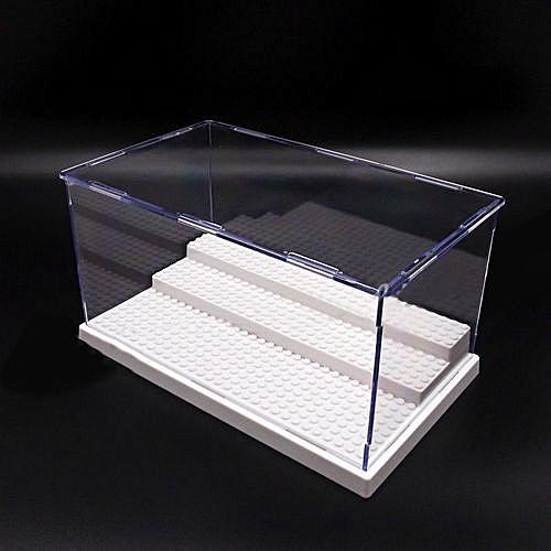 (photo)UK Acrylic Display Box For Lego Minifigures Case Plastic 3Steps White Base Block