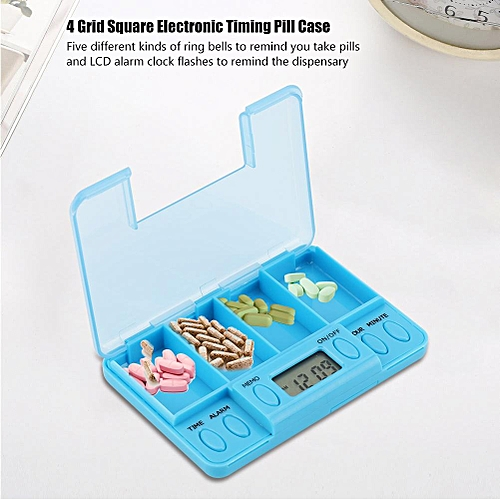 1Pc 4 Grid Square Electronic Timing Pill Case Portable Medicine Box Intelligent Tablet Reminder