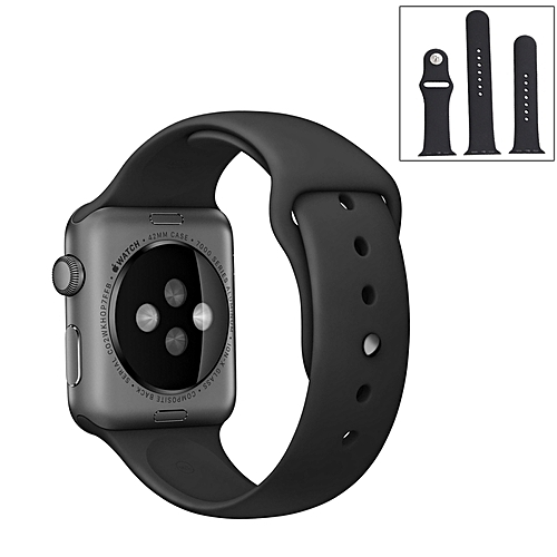 For Apple Watch Sport 38mm High-performance Ordinary And Longer Rubber Sport Watchband With Pin-and-tuck Closure - Black