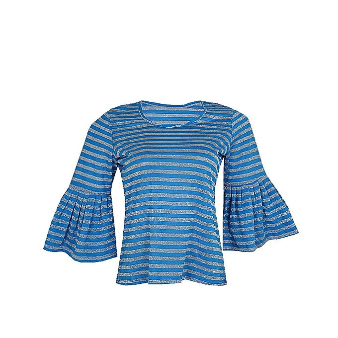 350e8607133b83 Canill Striped Bell Sleeve Detail Blouse - Blue   Jumia.com.ng