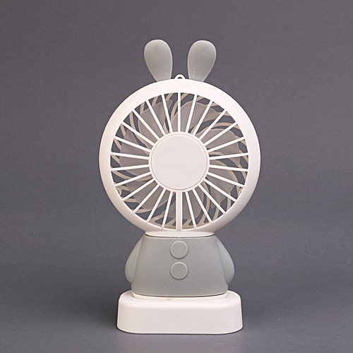 Home Office Handheld Rabbit Fan USB Charging With Desk Base For Student Grey