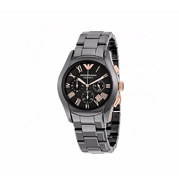 Emporio armani ceramica v2 chronograph black dial ceramic men 39 s watch for Ceramica chronograph