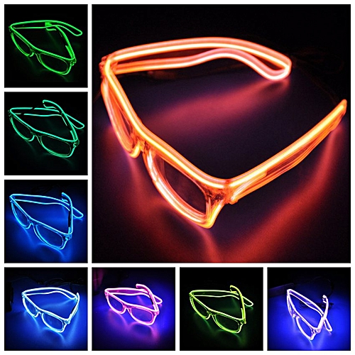 Led Light Glitter Glasses Halloween El Wire Fluorescent Glasses Glowing Personality Up Flashing Christmas Party Decor Ornament