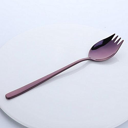 Stainless Steel Thicken Spoon Creative 2-in-1 Fork Kitchen Gadget Purple