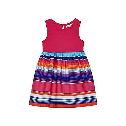 a22f0d839af5 Bluezoo BZ Kids Girls  Multi-Coloured Striped Skirt Dress