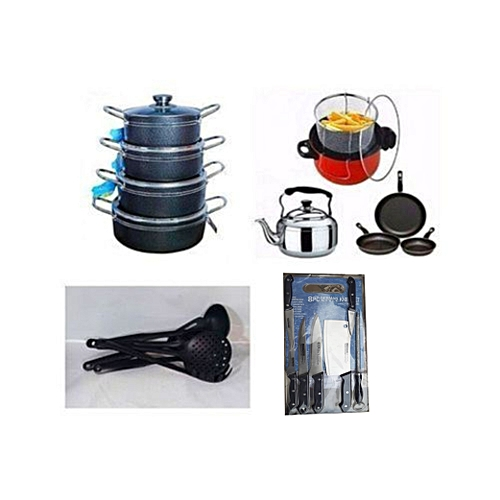 Economy Kitchen Bundle - 8 Set Of Non Stick Pot + 1 Deep Fryer + 1 Kettle + 3 Set Of Non Stick Frying Pan + 1 Set Of Non Stick Spoon + 1 Set Of Knife