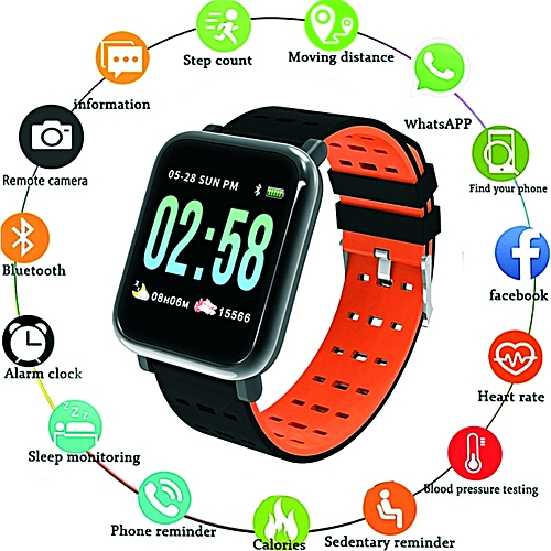 Sports Bracelet Smart Watch(Blood Pressure Sleep Monitoring Strap Fitness Heart Rate Monitoring Tracker For Android IOS)