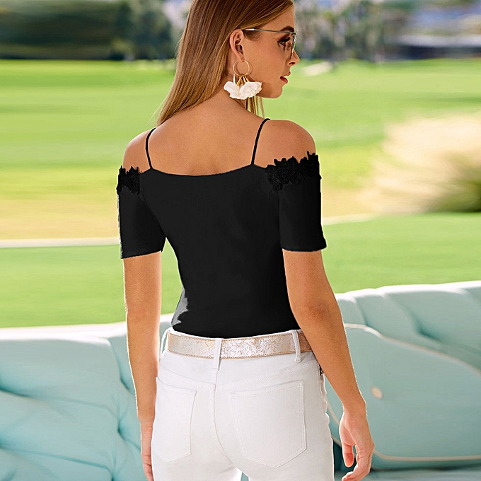 1c66321e0a3fd2 ... Hiaojbk Store Womens Casual Lace Cold Shoulder Tops Short Sleeve T  Shirt V Neck Tee Blouse ...