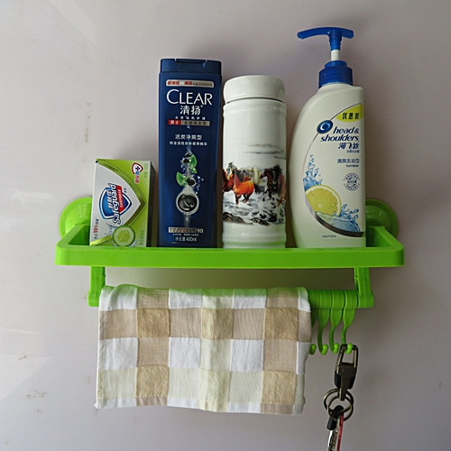 Bathroom Shelf Suction Rack Towel Hanger