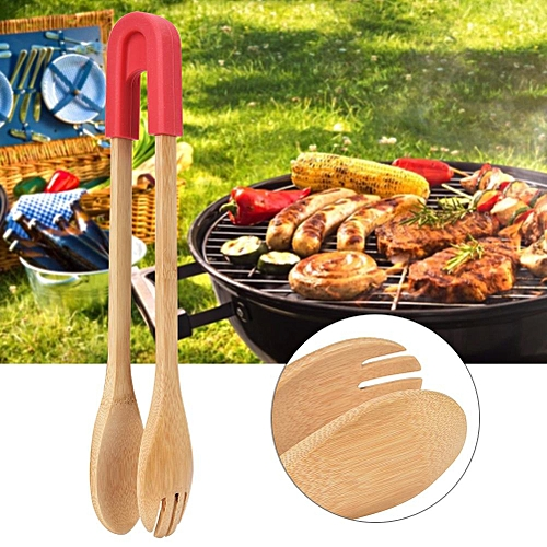 Bamboo Cooking Kitchen Food Salad Bread BBQ Tong With Silicone Head