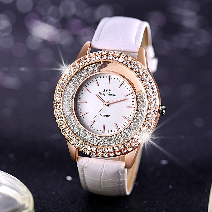 New Fashion Ladies Leather Crystal Diamond Rhinestone Watches Women Beauty Dress  Quartz Wristwatch f0f937459e37