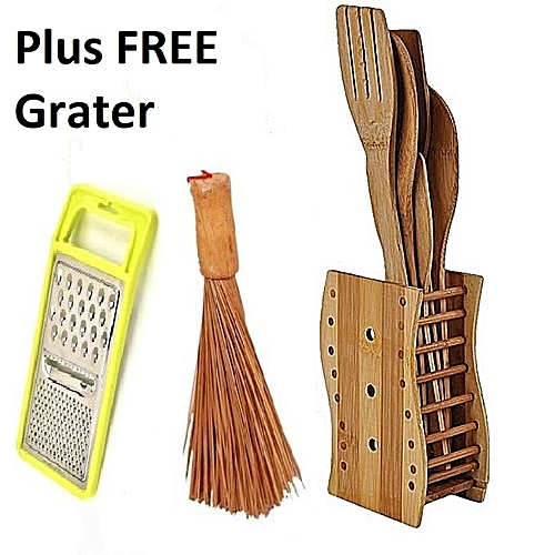 Kitchen Bamboo Wooden Spoons Set + Big Wooden Ewedu/Draw Meshing Broom + FREE Grater