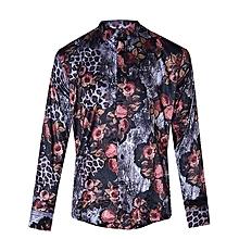 5b16997f5343 Men's Floral Print Long Sleeve Shirt - Brown